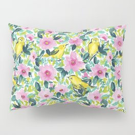 Birds n Flowers Yellow Pillow Sham