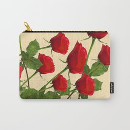 SCATTERED RED LONG STEM ROSES BOTANICAL ART Carry-All Pouch