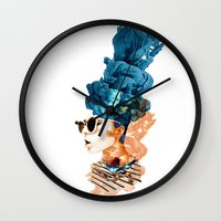 sunglasses Wall Clocks featuring sunglasses by PLASTIK FACTORY