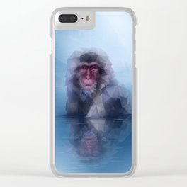 Macaque (Low Poly Blue Snow Monkey) Clear iPhone Case