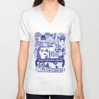 manchester V-neck T-shirts featuring Manchester by leeann walker illustration