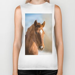 Brown Horse Winter Sky Biker Tank