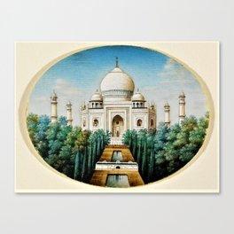 Classical Indian Masterpiece 1825 'Taj Mahal, Agra' - Artist Unknown Canvas Print