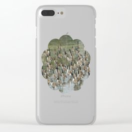 Canada Geese Partial Frozen Lake Clear iPhone Case