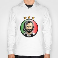 pirlo Hoodies featuring Maestro  by Miguel Angel Illustrations