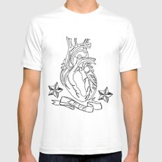 Love heart MEDIUM Mens Fitted Tee White