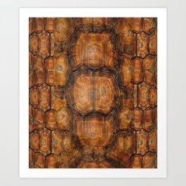 Brown Patterned  Organic Textured Turtle Shell  Design Art Print