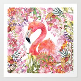 Flamingo in Tropical Flower Jungle Art Print