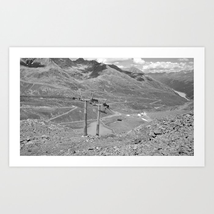 Chairlift Repair Kaunertal Alps Tyrol Austria Europe Black White Art Print