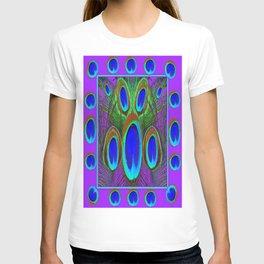 Modern Lilac Patterns Blue Peacock feather Eyes Art T-shirt