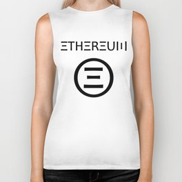 Ethereum Symbol (black on white) Biker Tank