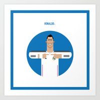 real madrid Art Prints featuring Cristiano Ronaldo Real Madrid Illustration by Gary  Ralphs Illustrations