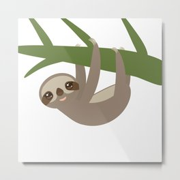 Three-toed sloth on green branch Metal Print