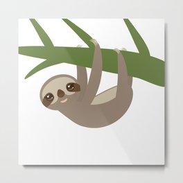 Three-toed sloth on green branch Metal Print