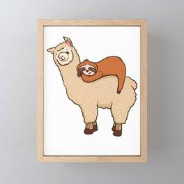 Cute & Funny Sloth Sleeping on Llama Friend Framed Mini Art Print