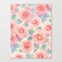 Opal Pink and Peach Painted Roses Canvas Print
