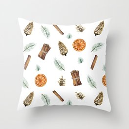 Christmas pattern with citrus and cinnamon Throw Pillow