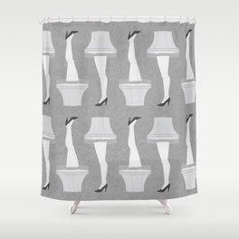 Leg Lamp Grey Shower Curtain