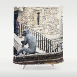 London Tower Monkey Shower Curtain