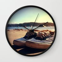 vans Wall Clocks featuring Beached Vans by Pretty In Palms Designs
