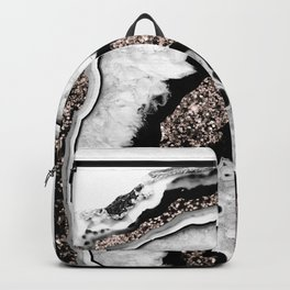 Gray Black White Agate with Rose Gold Glitter #1a #gem #decor #art #society6 Backpack