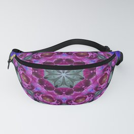 Floral finery - kaleidoscope of blue, plum, rose and green 1650 Fanny Pack