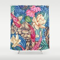 outdoor Shower Curtains featuring Koi Pond by Vikki Salmela