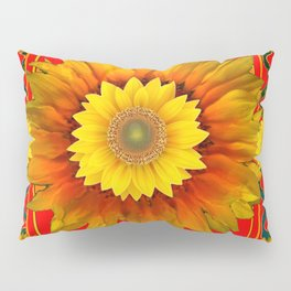 RED-BLACK  KANSAS SUNFLOWERS DECO ART Pillow Sham