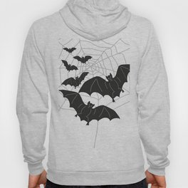 Black Bats with Spider Web Halloween Hoody