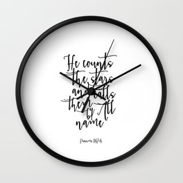 BIble Cover Printable Quotes Psalm 147:4 Nursery Bible Verse He counts the stars Scripture Print Wall Clock