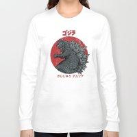 kaiju Long Sleeve T-shirts featuring Gojira Kaiju Alpha by Pigboom Art