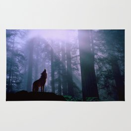 Wolf in the Woods Rug