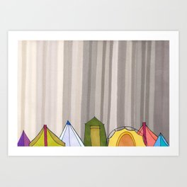 Stripes and Colorful Camping Tents 98 Art Print