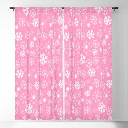 Snowflake Snowstorm In Pastel Pink Blackout Curtain