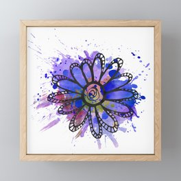 GC031-8 Colorful watercolor doodle flower green and blue Framed Mini Art Print