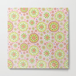 Pink Lotus Mandala allover pink Metal Print