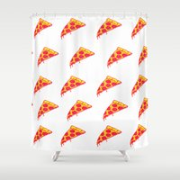 pizza Shower Curtains featuring Pizza by Madi Es