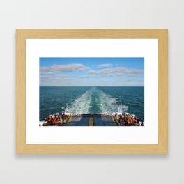 Ferry Boat Leaving Uk Land From Dover To Calais Framed Art Print