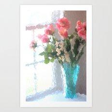 Impressionistic French Aqua Coral Pink Roses Tulips Floral Decor Art Print