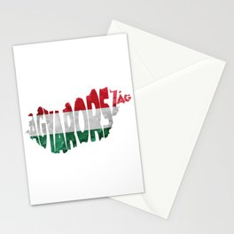 Magyarország World Map / Hungary Typography Flag Map Art Stationery Cards