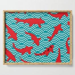 Koi carp. Red fish. black outline sketch doodle. azure teal burgundy maroon Nature oriental backgrou Serving Tray