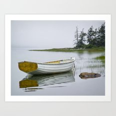 White Maine Boat on a Foggy Morning Art Print