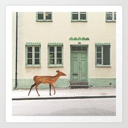 Deer in town Art Print