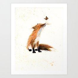 Monarch Fox - animal watercolor painting Art Print