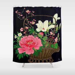 Ohara Koson Flower Basket Shower Curtain