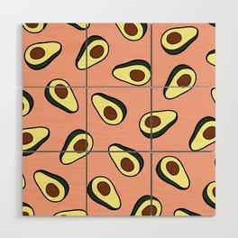 Avocado Pattern in Pink Wood Wall Art
