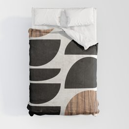 Mid-Century Modern Pattern No.7 - Concrete and Wood Comforters