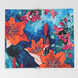 Blooming Night Garden: Twilight Throw Blanket