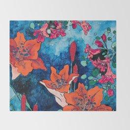 Blooming Night Garden: Twilight Throw Blanket