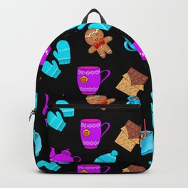 Lovely gingerbread men cookies, chocolate bars, hot cocoa with marshmallows winter season pattern Backpack